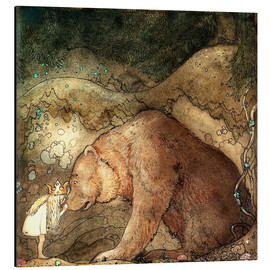 Aluminio-Dibond  she kissed the bear on the nose - John Bauer