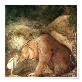 Póster  she kissed the bear on the nose - John Bauer