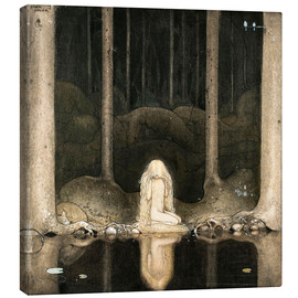 Lienzo  Princess Tuvstarr gazing down into the dark waters of the forest tarn - John Bauer
