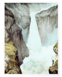 Póster  At the waterfall - Theodor Kittelsen