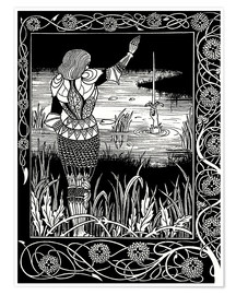 Póster  How Sir Bedivere Cast the Sword Excalibur into the Water - Aubrey Vincent Beardsley