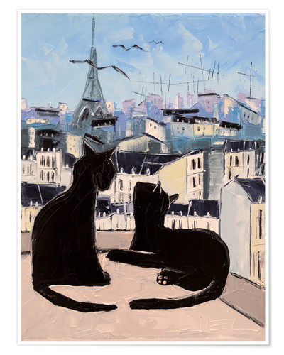 Póster Cats and doves over Paris