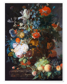 Póster Still Life with Flowers and Fruit