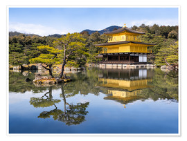 Póster Golden Kinkakuji Temple and garden in the summer in Kyoto Japan