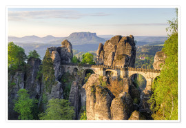 Póster Bastei Bridge in Saxon Switzerland in the morning