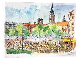 Cuadro de metacrilato  Munich Food Market Square Day in Summer Aquarell - M. Bleichner