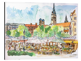 Cuadro de aluminio  Munich Food Market Square Day in Summer Aquarell - M. Bleichner