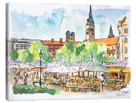 Lienzo  Munich Food Market Square Day in Summer Aquarell - M. Bleichner
