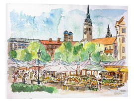 M. Bleichner - Munich Food Market Square Day in Summer Aquarell