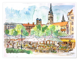 Póster  Munich Food Market Square Day in Summer Aquarell - M. Bleichner