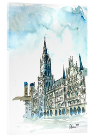 Cuadro de metacrilato  Munich City Hall Aquarell - M. Bleichner