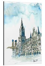 Aluminio-Dibond  Munich City Hall Aquarell - M. Bleichner