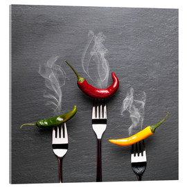 Cuadro de metacrilato  steaming colorful chili peppers - pixelliebe