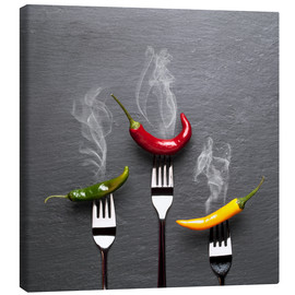 Lienzo  steaming colorful chili peppers - pixelliebe