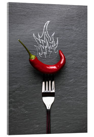 Cuadro de metacrilato  red chili peppers with fire - pixelliebe