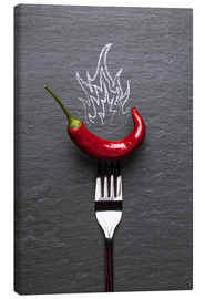 Lienzo  red chili peppers with fire - pixelliebe