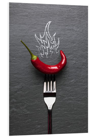 Cuadro de PVC  red chili peppers with fire - pixelliebe