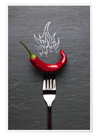 Póster  red chili peppers with fire - pixelliebe