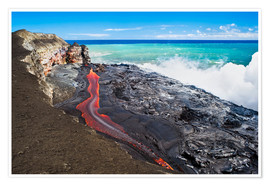 Póster  Lava flowing into ocean, Hawaii - David Nunuk