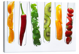 Lienzo  Fruit and vegetables in test tubes