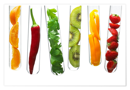 Póster Fruit and vegetables in test tubes