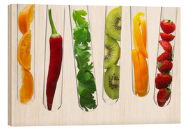 Cuadro de madera  Fruit and vegetables in test tubes