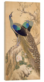 Madera  Two peacocks in spring - Imao Keinen
