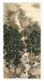 Póster  Waterfall in spring and autumn - Kishi Chikudo