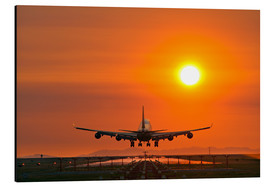 Cuadro de aluminio  Aeroplane landing at sunset - David Nunuk