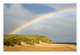 Póster Rainbow over sand dunes