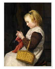 Póster Knitting Girl with basket