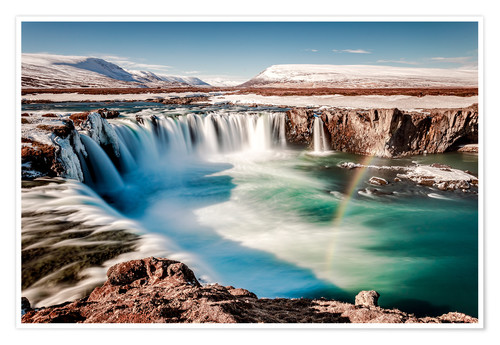 Póster winter wonderland Iceland: Godafoss