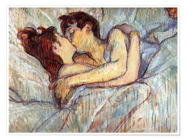 Póster  In Bed The Kiss - Henri de Toulouse-Lautrec