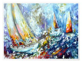 Póster Sailboats in storm