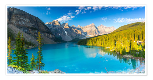 Póster Moraine Lake at the morning panorama