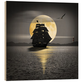 Cuadro de madera  A ship with black sails - Monika Jüngling
