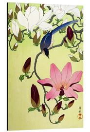 Aluminio-Dibond  Magpie with Pink and White Magnolia Blossoms - Ohara Koson
