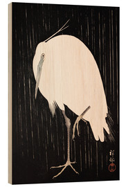 Cuadro de madera  White Crane in the rain - Ohara Koson
