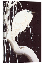 Lienzo  White Crane on a snowy road - Ohara Koson