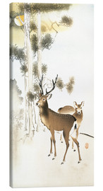 Lienzo  Deer and roe deer in winter - Ohara Koson