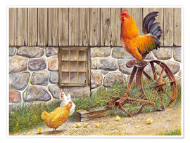 Póster  King Rooster and Hens - John Bindon