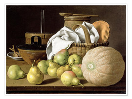 Póster  Still Life with Melon and Pears - Luis Egidio Meléndez