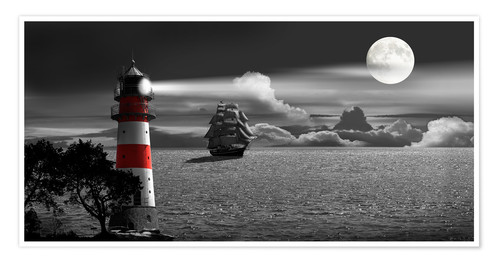 Póster Lighthouse colorkey in the night