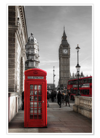 Póster  London Telephone Box and Big Ben - Filtergrafia