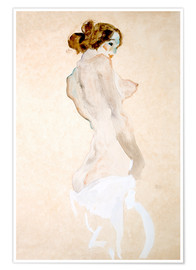 Póster  Standing Nude with white shirt - Egon Schiele