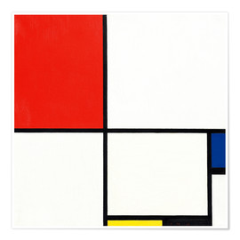 Póster Composition with red, blue and yellow