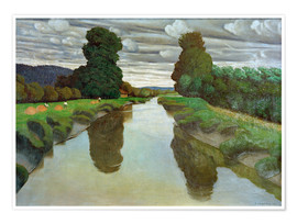 Póster  The river Risle near Berville - Felix Edouard Vallotton