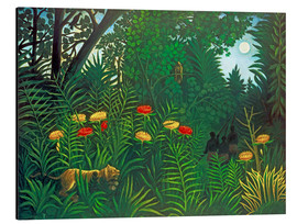Aluminio-Dibond  Exotic landscape with tiger and hunters - Henri Rousseau