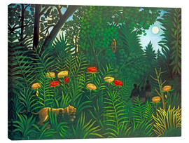 Lienzo  Exotic landscape with tiger and hunters - Henri Rousseau