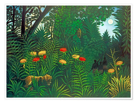 Póster  Exotic landscape with tiger and hunters - Henri Rousseau